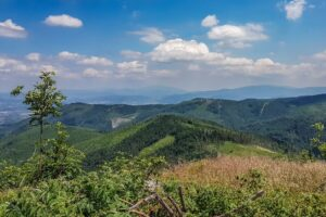 Na Malinowskiej Skale (1152 m n.p.m.)... W tle widoczna Babia Góra (+/- w środku kadru) oraz Pilsko (z prawej strony kadru) - dwie najwyższe góry Beskidu Żywieckiego.