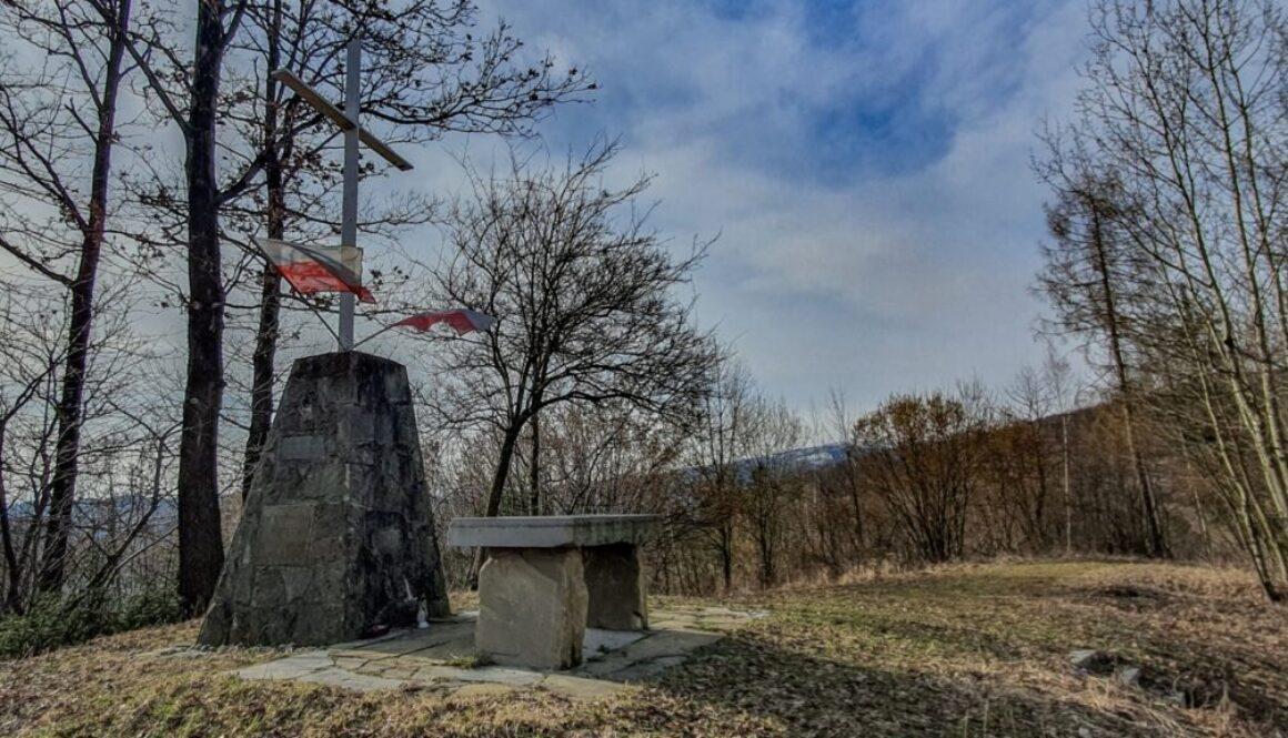 Krzyż Grunwaldu na Sumowej Grapie nad Milówką. (marzec 2020)