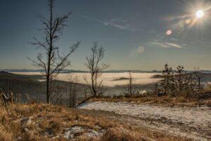 Widok na morze mgieł z niebieskiego szlaku na Halę Lipowską.