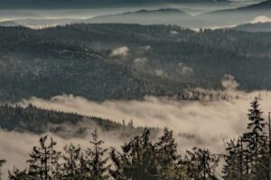 Zbliżenie na mgły i lasy nad Złatną.
