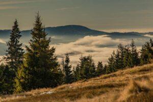 Zbliżenie na Wielką Raczę i pierzynkę z mgieł.