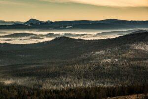 Szadź i prześwity słońca na Borach Orawskich.
