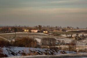 Rolniczy krajobraz Pogórza Śląskiego.