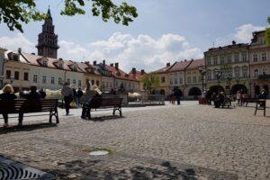 Rynek starówki Bielska w Bielsku-Białej.