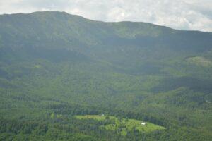 W Babiogórskim Parku Narodowym. Widok na Babią Górę i polanę Noszak z okolic Mosornego Gronia.