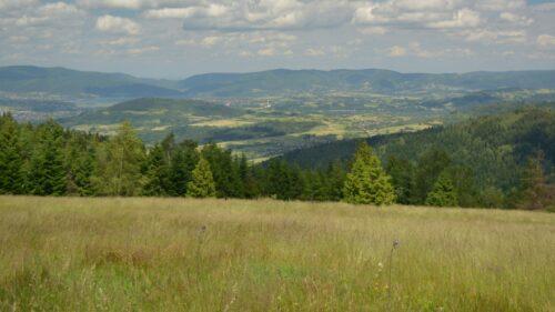 Panorama wschodnich obrzeży Kotliny Żywieckiej. Po środku grzbiety Beskidu Makowskiego, a tle widoczne są grzbiety Beskidu Małego.